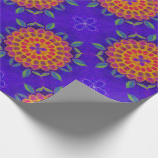 Vintage flower drawing with purple background wrapping paper