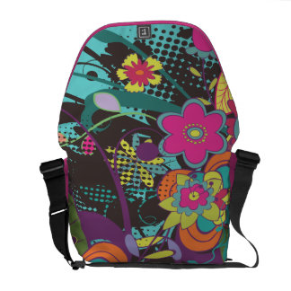 vintage flower frenzy funky vector design messenger bag