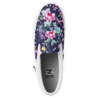 Vintage Flower Garden Rainbow Butterfly  Blue Slip On Shoes