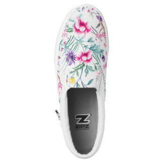 Vintage Flower Garden Rainbow Butterfly white Slip-On Shoes