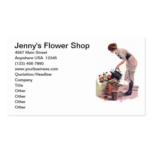 Vintage Flower Gardening Plant Care Landscaping Business Card Template