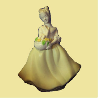 Vintage Flower Girl Standing Photo Sculpture