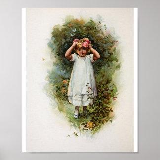 Vintage Flower Girl Wearing Wreath Poster