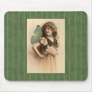 Vintage Flower Girl with Butterfly Wings Mousepad