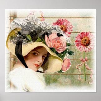 Vintage Flower Lady. Poster