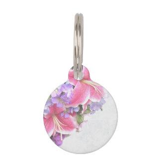 Vintage Flower Lily Pet Name Tag