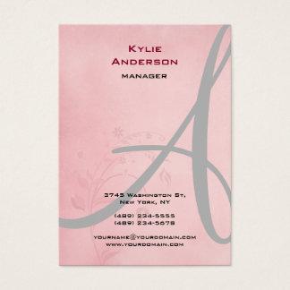 Vintage Flower Pink Gray Calligraphy Monogram