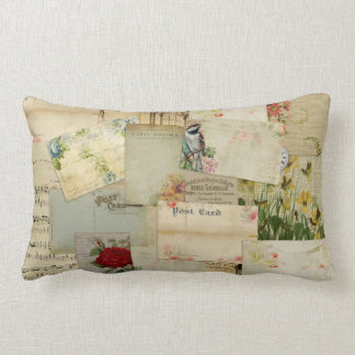 Vintage Flower Postcards Lumbar Pillow