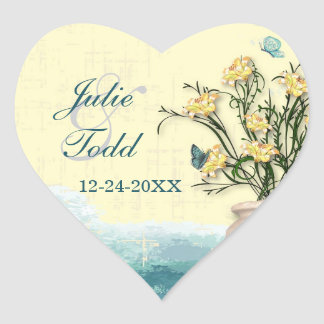 Vintage Flower Pot & Butterfly  Save the Date Heart Sticker