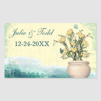 Vintage Flower Pot & Butterfly Save The Date Rectangular Sticker