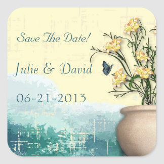 Vintage Flower Pot & Butterfly Save The Date Square Sticker