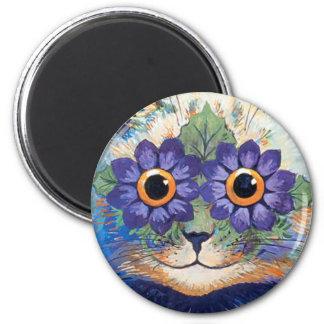 Vintage Flower Power Hippie Cat Magnet