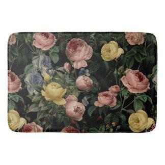 Vintage Flower Roses and Iris Pattern-Dark Dreams Bath Mat