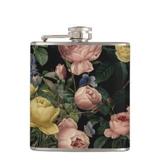 Vintage Flower Roses and Iris Pattern-Dark Dreams Hip Flask
