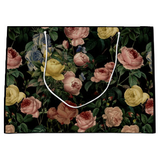 Vintage Flower Roses and Iris Pattern-Dark Dreams Large Gift Bag