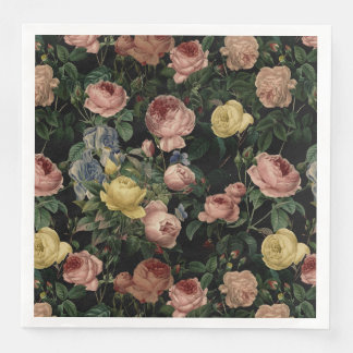 Vintage Flower Roses and Iris Pattern-Dark Dreams Paper Napkins