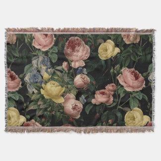 Vintage Flower Roses and Iris Pattern-Dark Dreams Throw Blanket
