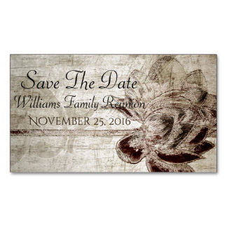 Vintage flower Save The Date Magnetic Business Cards