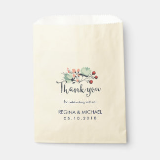 Vintage Flower Script Thank You Wedding Party Favour Bag