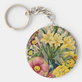 Vintage Flower Seed Catalog Keychain