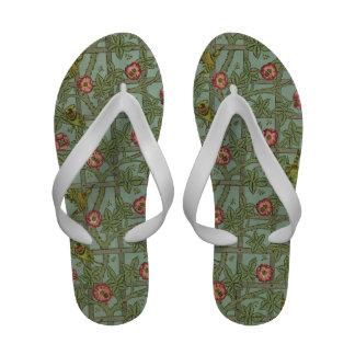 Vintage Flower Trellis Pattern Flip-Flops