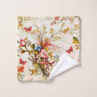Vintage flowers and butterflies bath towel set