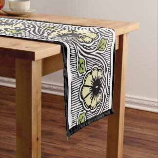 Vintage Flowers and Leaves Short Table Runner