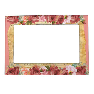 Vintage Flowers and Music Magnetic Frame