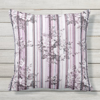 Vintage Flowers and Stripes Outdoor Cushion