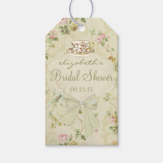 Vintage Flowers and Tea Cup Bridal Shower Gift Tags