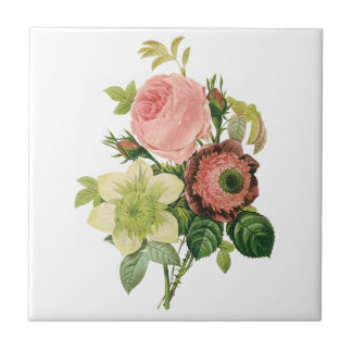 Vintage Flowers, Anemone Roses Clematis by Redoute Tile