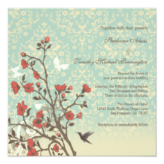 Vintage flowers, bird + damask wedding invitation