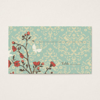 Vintage flowers bird + damask wedding place card