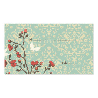 Vintage flowers bird + damask wedding place card business card template