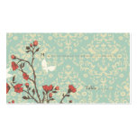 Vintage flowers bird + damask wedding place card pack of standard business cards