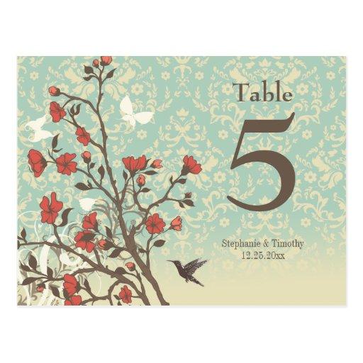 Vintage flowers bird + damask wedding table number postcards