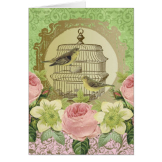 Vintage flowers, birds and birdcage-notecard card
