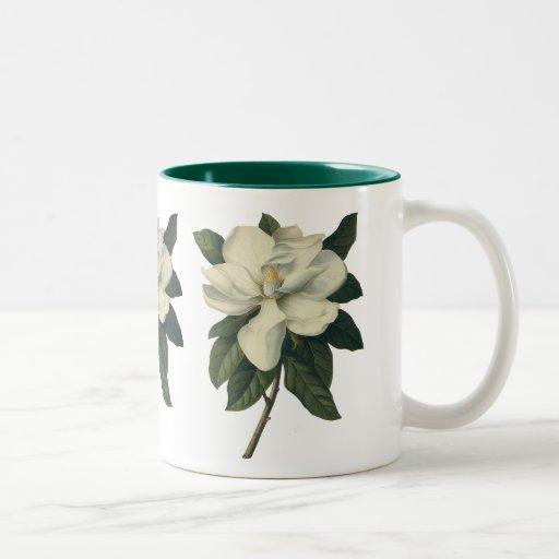 Vintage Flowers, Blooming White Magnolia Blossom Coffee Mug