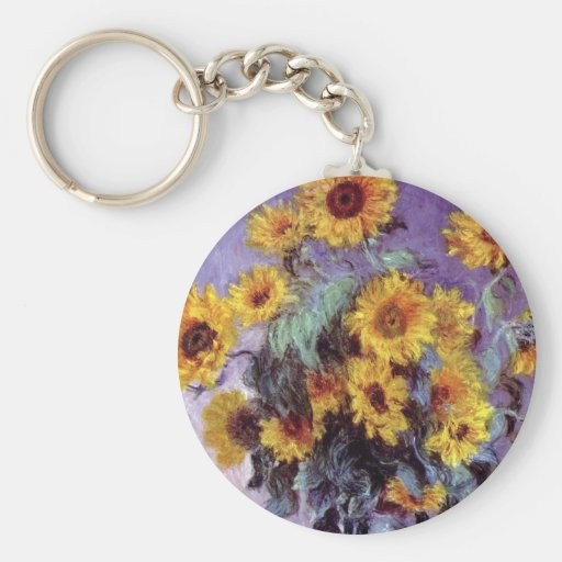 Vintage Flowers, Bouquet of Sunflowers by Monet Basic Round Button Key Ring