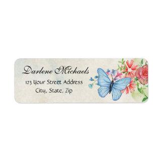 Vintage Flowers Butterfly Garden Nature Floral Return Address Label