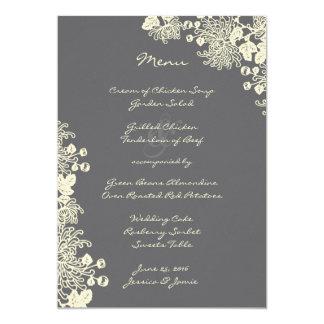 Vintage Flowers Charcoal Gray Wedding Menu Card