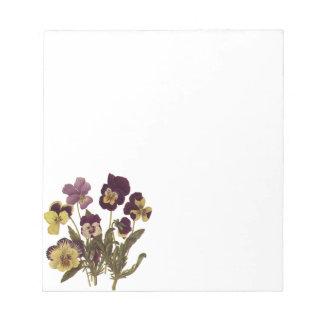 Vintage Flowers, Floral Garden Pansies in Bloom Memo Notepads