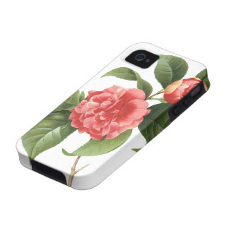 Vintage Flowers Floral Red Pink Camellias Redoute Case For The iPhone 4