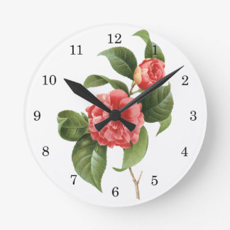 Vintage Flowers Floral Red Pink Camellias Redoute Round Clocks
