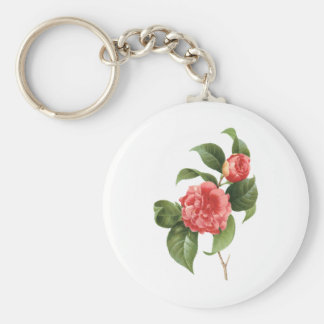 Vintage Flowers Floral Red Pink Camellias Redoute Key Chains