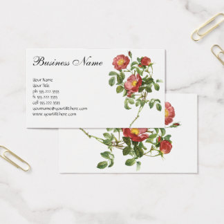 Vintage Flowers Floral Red Rose of Love by Redoute Business Card