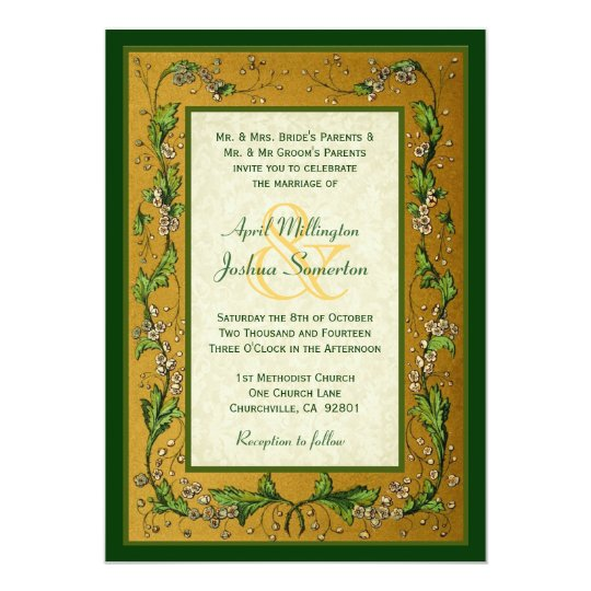 Vintage Flowers Gold and Green Wedding W752 Card