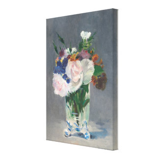 Vintage Flowers in a Crystal Vase by Edouard Manet Canvas Print