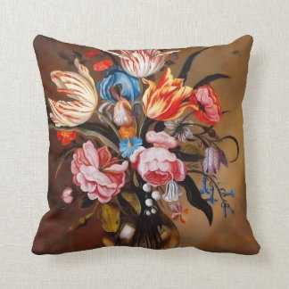 Vintage Flowers in a Vase   Pillow Cushion