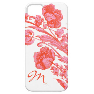 Vintage Flowers in Bold Colors, Orange and Pink Case For The iPhone 5